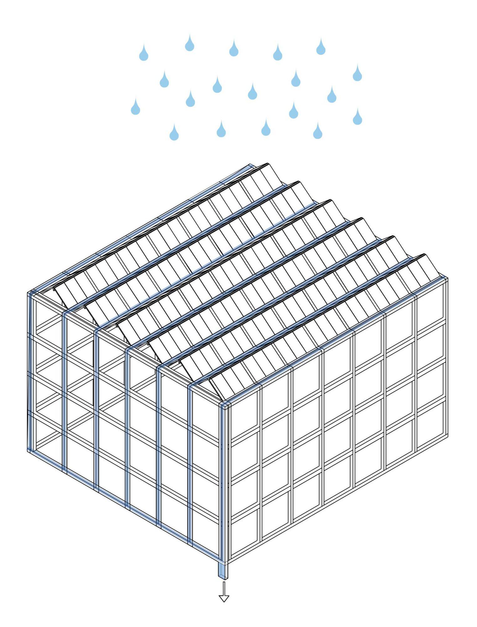 Zeichnung, wie das Dach das Regenwasser auffängt und abfließen lässt.